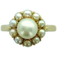 Natural Pearl and Yellow Gold Ring