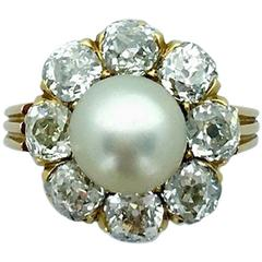 Early 20th Century Natural Pearl Diamond Gold Ring