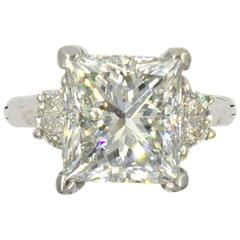 6.22-Carat Princess Cut Diamond Platinum Engagement Ring  GIA Certified