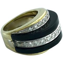 1960s Onyx Diamond Gold Platinum Ring