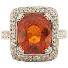 7.00 Carat Spessartite Garnet Diamond White Gold Ring