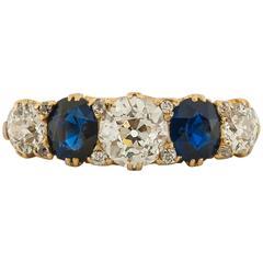 1900s Sapphire Diamond Yellow Gold Five-Stone Ring