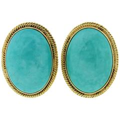 Retro Oval Cabochon Turquoise Gold Clip-On Earrings, 1960s