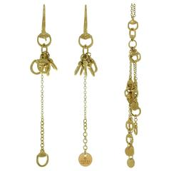 Gucci Horsebit Yellow Gold Necklace and Dangle Earrings Set