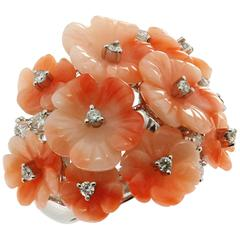 Natural Carved Pink Coral Diamond White Gold Flower Ring