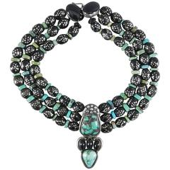 Eileen Coyne Turquoise Onyx and Sterling Inlaid Ebony Necklace