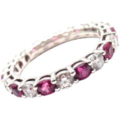 Tiffany & Co. Diamond Ruby Shared Setting Wide Platinum Band Ring