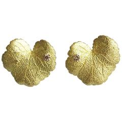Andrew Grima Diamond Yellow Gold Geranium Leaf Earclips, 2004