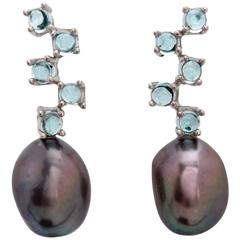 MAVIADA's Cavallo Five Baroque Pearl Sky Blue Topaz 18 Karat Gold Drop Earrings