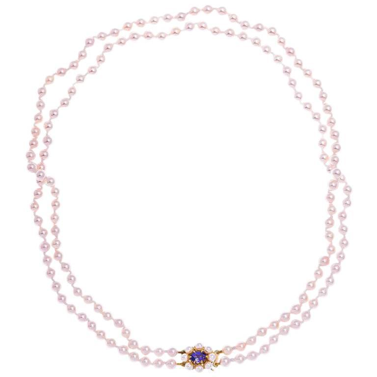 Double row akoya pearl necklace with gold tanzanite clasp at 1stdibs double row akoya pearl necklace with gold tanzanite clasp for sale aloadofball Image collections