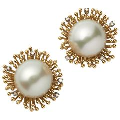 Andrew Grima Pearl Diamond Yellow Gold Earclips, 2003
