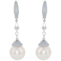 South Sea White Pearl Diamond Drop Earring