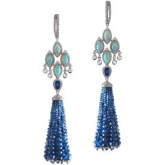 Ethiopian Opal Blue Sapphire Diamond Tassel Earrings