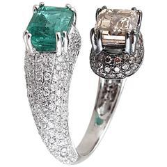 Brown Diamond Emerald Ring