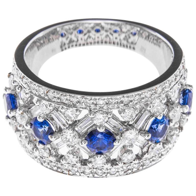 White Gold 1.22 Carat Diamond and Sapphire Dress Ring