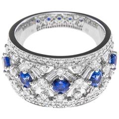 White Gold 1.22 Carat Diamond and Sapphire Dress Ring