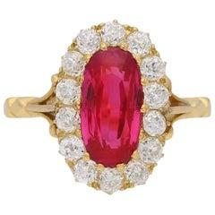 Antique Natural Burmese Ruby and Diamond Ring, circa 1900