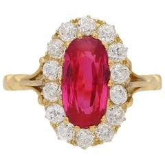 Antique Natural Burmese Ruby and Diamond Ring, circa 1900