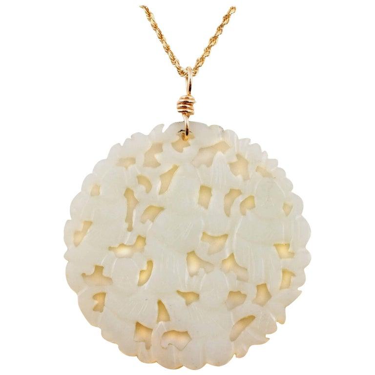 Carved Nephrite Jade Necklace in 14 Karat Gold 1