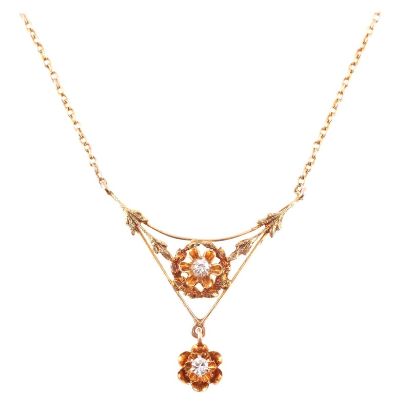 Diamond Lavalier Yellow Gold Necklace, circa 1930 For Sale