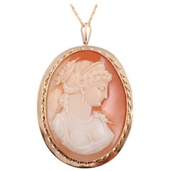 Gold Cameo Pin Pendant on Gold Filled Chain