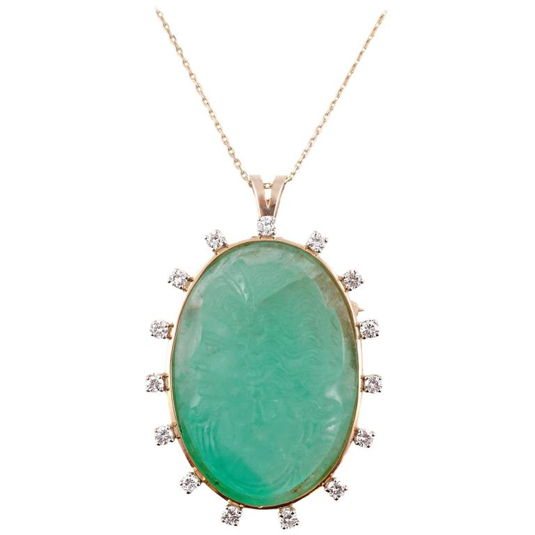 Carved Emerald Cameo Diamond Pendant GIA Report Yellow Gold Chain