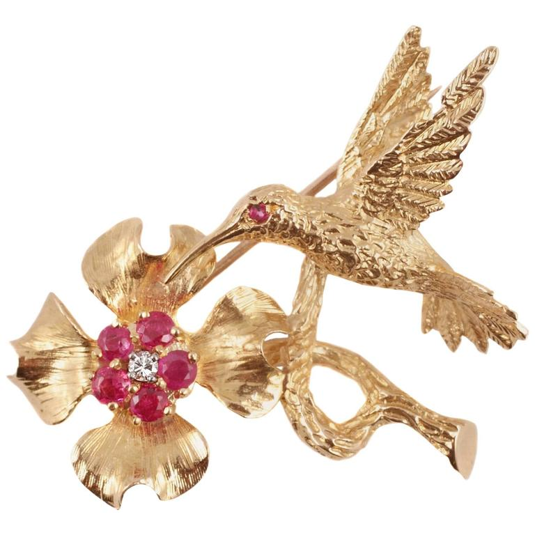 Burma Ruby Diamond Yellow Gold Hummingbird Brooch