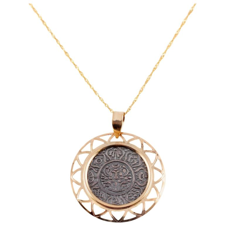 Yellow Gold Modern Tibetan Tangka Necklace