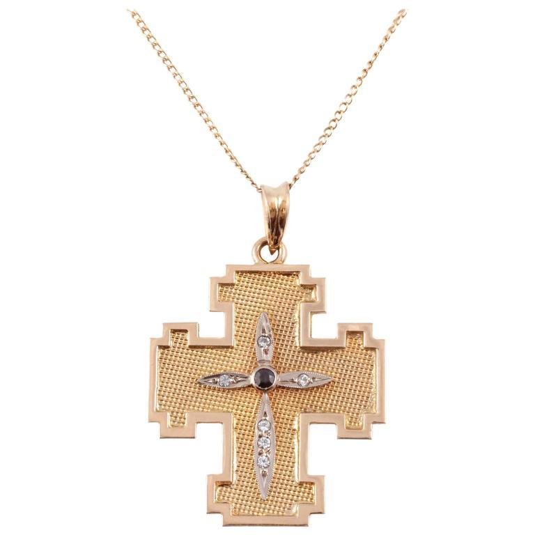 Sapphire Simulated Diamond Yellow Gold Cross Necklace