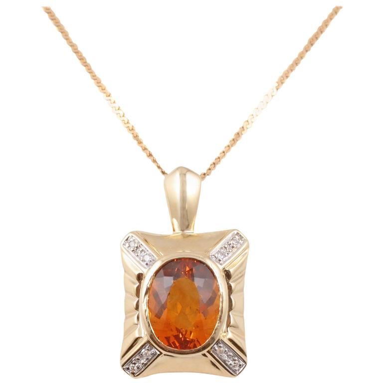 4.70 Carat Citrine Diamond Yellow Gold Necklace For Sale