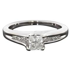 Princess Diamond White Gold Channel Sides Engagement Ring