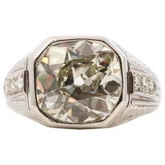 Art Deco 5.19 Carat Old Mine Cut Diamond Platinum Ring