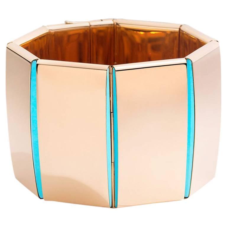 Vhernier Bridge Rose Gold and Turquoise Bracelet