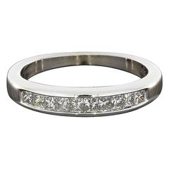 Princess Diamond White Gold Channel Stackable Wedding Band Ring
