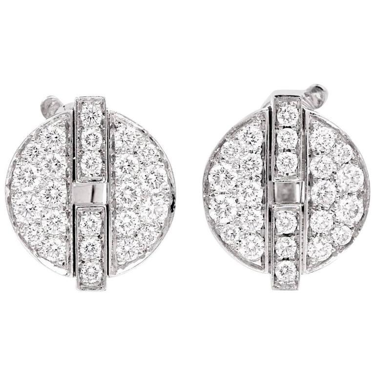 Cartier France Himalia Diamond Gold Stud Earrings