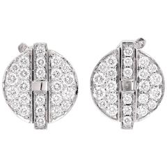 Cartier France Himalia Diamond Gold Stud Earrings