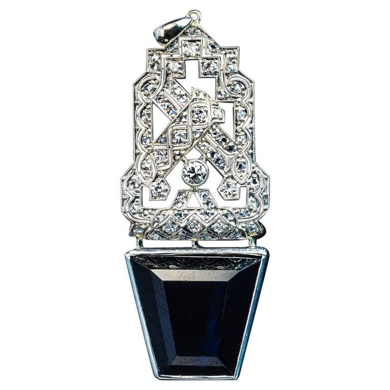 Art Deco Sapphire Diamond Platinum Pendant 1