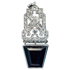 Art Deco Sapphire Diamond Platinum Pendant
