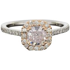 Natural Fancy Pink Cushion Diamond GIA Certified Halo Engagement Ring