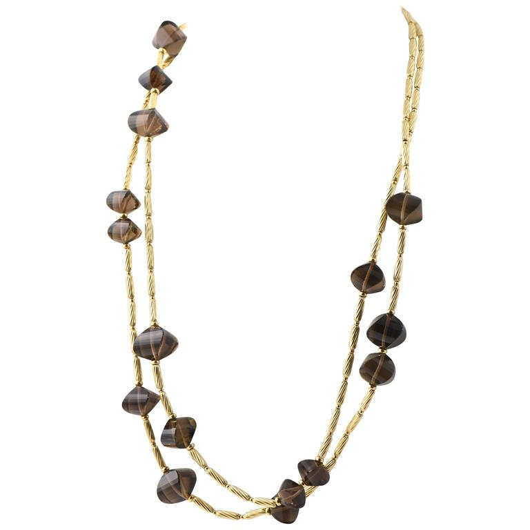 David Yurman Smoky Quartz and Gold Cable Bead Necklace