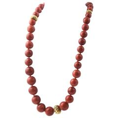 David Yurman Jasper and Sculpted Cable Gold Bead Necklace