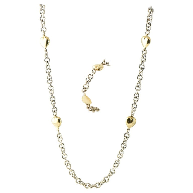 Gucci Gold Heart Station Sterling Chain Suite, Necklace and Bracelet