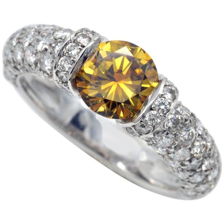 HRD Certified Fancy Intense Yellow Orange Diamond Engagement Ring