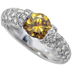 Certified Fancy Intense Yellow Orange Diamond Engagement Ring