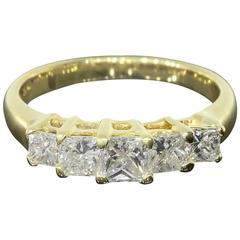 Princess Diamond Five-Stone Yellow Gold Shared Prong Engagement Ring