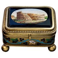 19th Century Antique Italian Micro Mosaic Jewelry Box