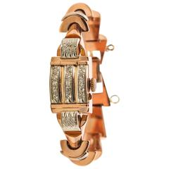 Girard Ladies Rose Gold Diamond Wristwatch with Flip Cover, 1940s