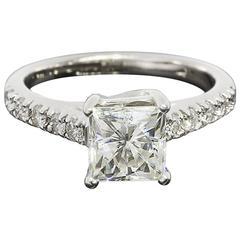 Princess Cut Forever Brilliant Moissanite Diamond White Gold Engagement Ring
