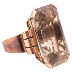 1940s Smoky Quartz Rose Gold Cocktail Ring