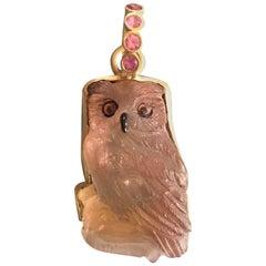 Moonstone Onyx Citrine Gold Owl Pendant